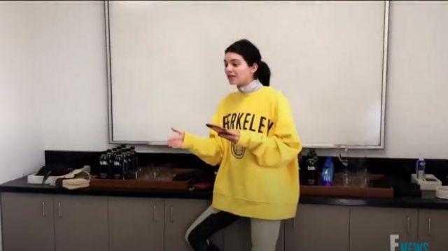 Calvin Klein Jaune Berkeley Édition de l'Université Sweat-shirt porté par Kendall Jenner en accord avec les Kardashians (S16E12)