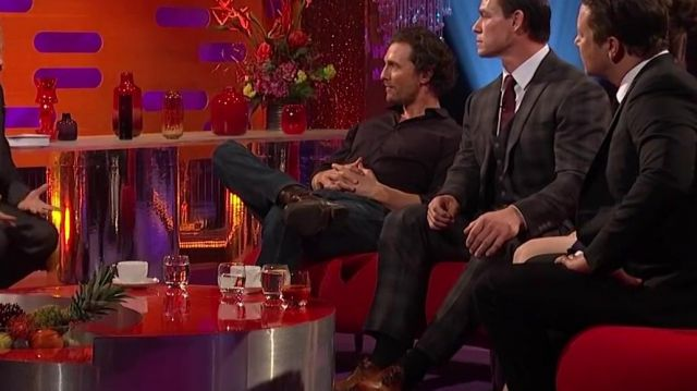 Dark brown long sleeve formal shirt of Matthew McConaughey in The Graham Norton Show 07/12/2018