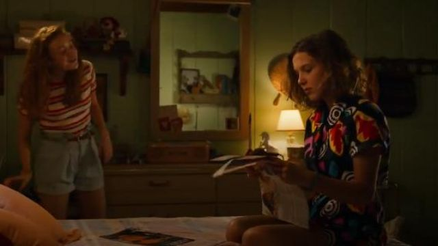 Short Sleeve Printed Romper worn by Eleven (Millie Bobby Brown) in Stranger Things (S03E03)