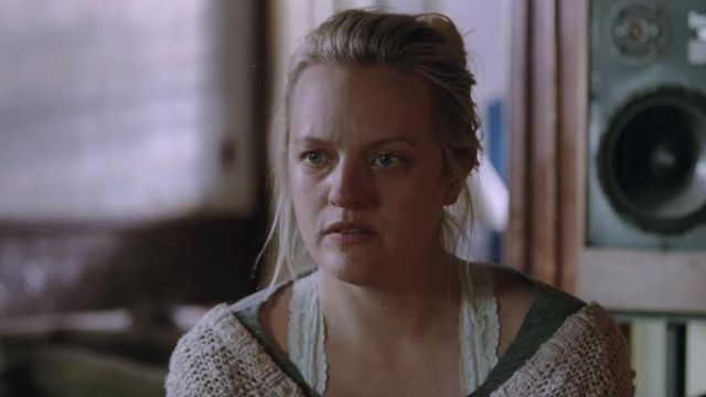 Beige wool cardigan worn by Becky Something (Elisabeth Moss) as seen in Her Smell (trailer)