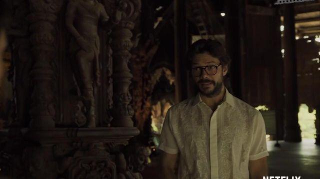 Vintage White Short Sleeve Shirt worn by El Profesor (Álvaro
