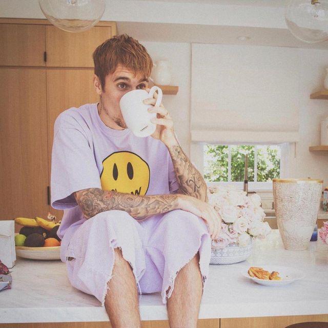 le short The House of Drew de Justin Bieber sur son compte Instagram @justinbieber