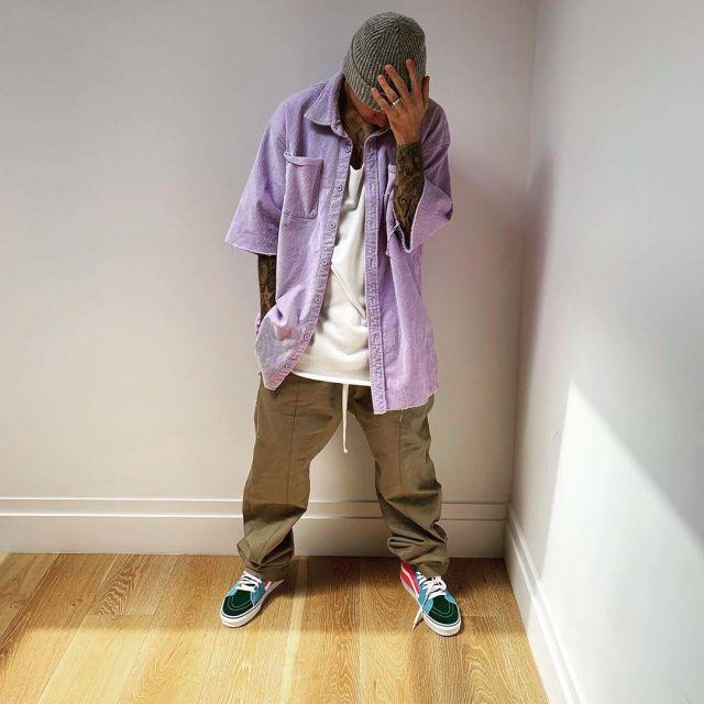 la chemise mauve The House of Drew portée par Justin Bieber sur son compte Instagram @justinbieber