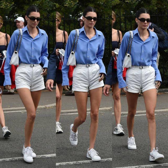 Ralph Lauren Sergé de Coton Short porté par Kendall Jenner tournoi de Tennis de Wimbledon, le 14 juillet 2019