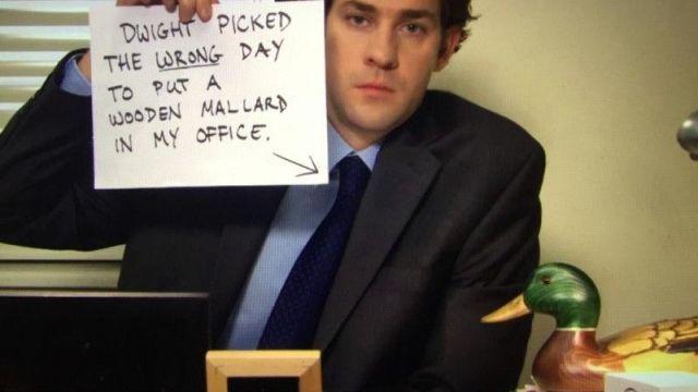 Wooden Duck of Jim Halpert (John Krasinski) in The Office (Season 06 Episode 07)