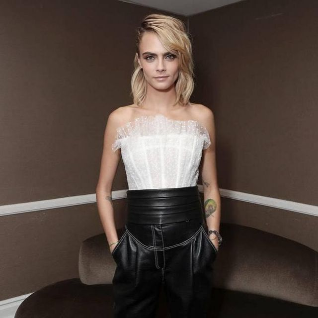 Philosophy Di Lorenzo Serafini Polka Dot Embroidered Tulle Bustier worn by Cara Delevingne Summer TCA Press Tour July 27, 2019
