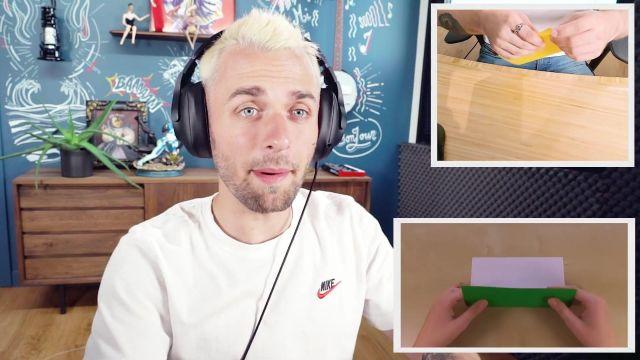 Le t-shirt Nike de Squeezie dans sa vidéo YouTube J'essaie l'origami et c'est l'enfer
