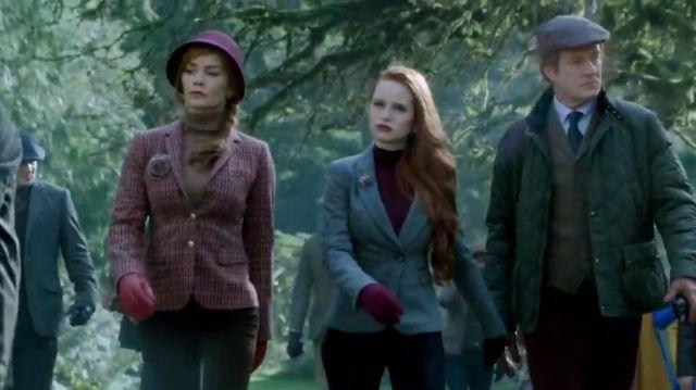 J Crew Rhodes blazer in houndstooth wool worn by Penelope Blossom (Nathalie Boltt) in Riverdale (Season 01 Episode 07)