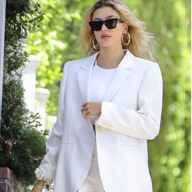 Isabel Marant Purdie Crepe Blazer worn by Hailey Rhode Bieber Los Angeles July 28, 2019