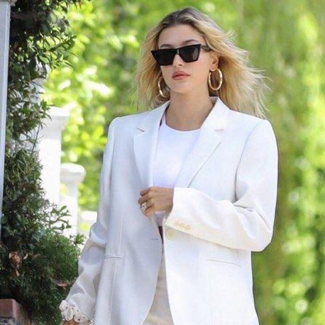Jennifer Fisher Baby Erin Hoop Earrings worn by Hailey Rhode Bieber Los Angeles July 28, 2019