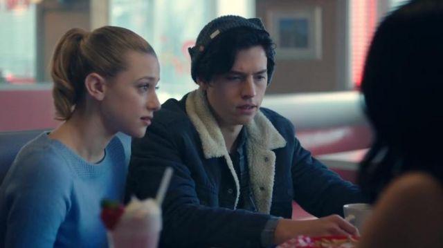 Levi's Sherpa Blue Jacket worn by Jughead Jones (Cole Sprouse) in Riverdale (S01E08)