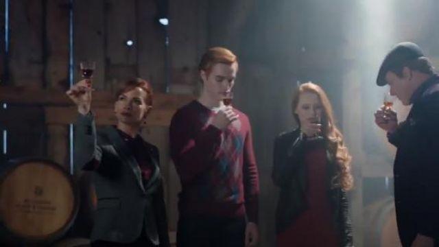 Zara Dark Grey Herringbone Blazer with Elbow patches worn by Penelope Blossom (Nathalie Boltt) in Riverdale (Season 01 Episode 09)