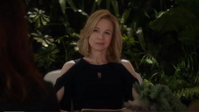 Roland Mouret Navy Blue Keyhole Slit-Sleeve Midi Crepe Sheath Dress worn by Anne Montgomery (Renée Zellweger) in WHAT / IF (Season 01 Episode 05)