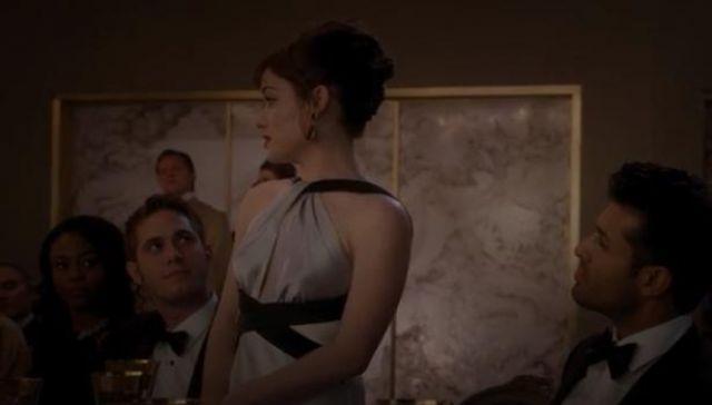 ABS by Allen Schwartz Silver Colorblock Satin Halter Gown worn by Lisa Donovan (Jane Levy) in WHAT / IF (Season 01 Episode 05)