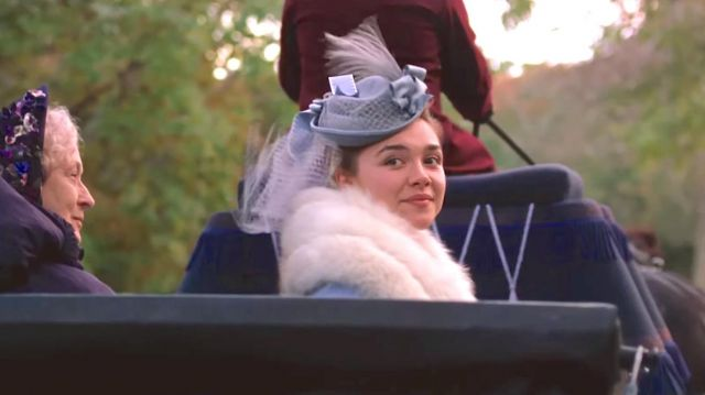 The blue hat of Amy March (Florence Pugh) in Little Women