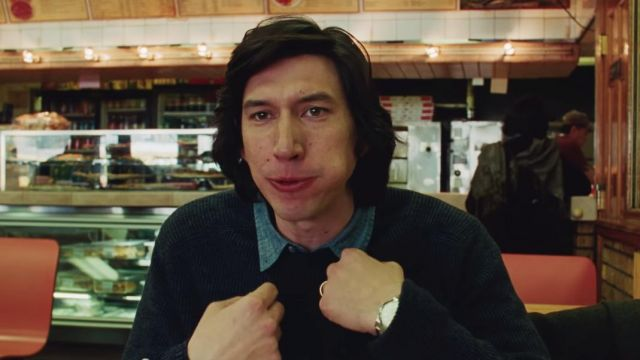 Blue choker sweater worn by Charlie (Adam Driver) in Marriage Story