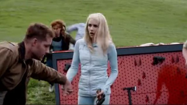 Blue Sky Puffer Vest worn by Emma Roberts in THE HUNT