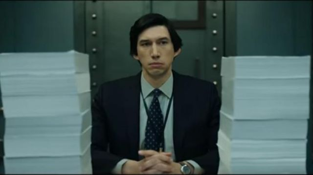 Navy Dotted Report Tie worn by Adam Driver in THE REPORT Trailer