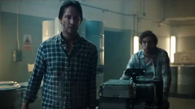 Standard-fit plaid twill shirt worn by William Foster (Keanu Reeves) in Replicas