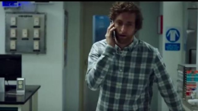 Blue and white check shirt worn by Ed Whittle (Thomas Middleditch) in Replicas