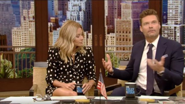 Saint Laurent dress black worn by Kelly Ripa on LIVE with Kelly and Ryan