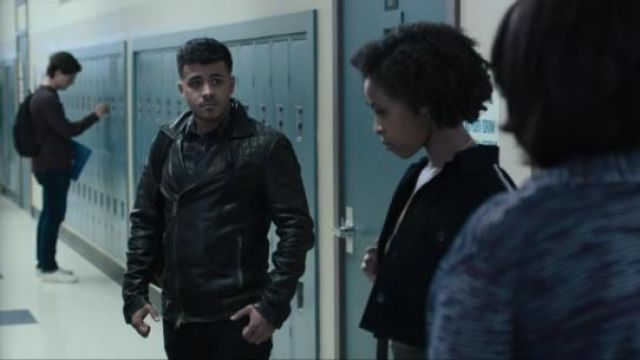All Saints black Conroy leather biker jacket worn by Tony Padilla (Christian Navarro) in 13 Reasons Why (S03E04)