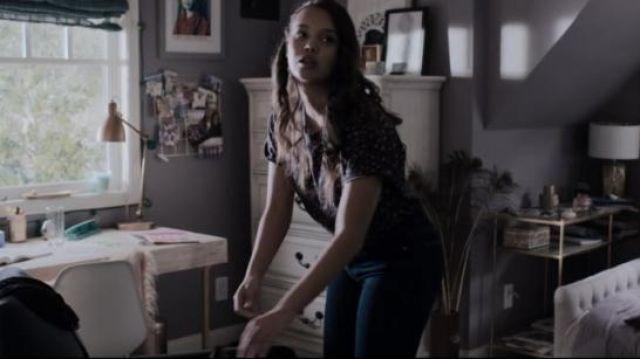 Rag and Bone black floral vintage crew worn by Jessica Davis (Alisha Boe) in 13 Reasons Why (S03E11)