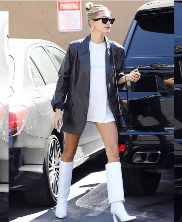 Jacquemus white le botte pantalon boots worn by Hailey Baldwin Mindy Weiss' Office September 17, 2019