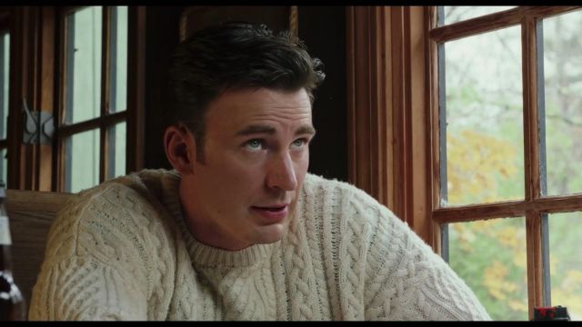 White sweater worn by Ransom Drysdale (Chris Evans) in Knives Out