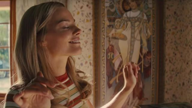 Striped tee worn by Sharon Tate (Margot Robbie) in Once Upon a Time in Hollywood