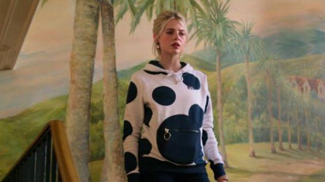FILA + Pierre cardin white polka dot hoodie sweatshirt worn by Astrid (Lucy Boynton) in The Politician Season 1 Episode 3
