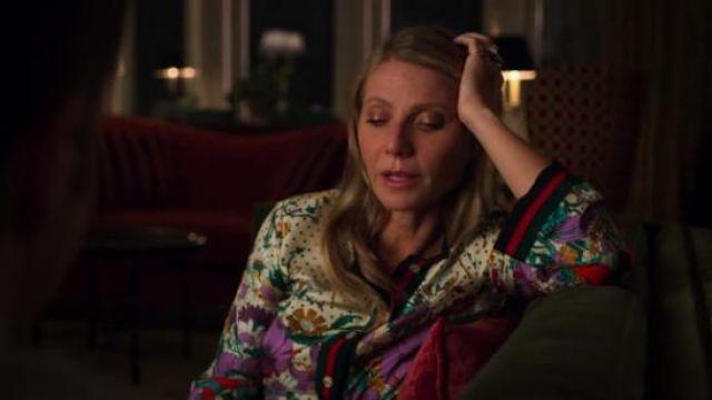 Gucci Grosgrain-trimmed printed silk-twill shirt worn by Georgina Hobart (Gwyneth Paltrow) in The Politician Season 1 Episode 4