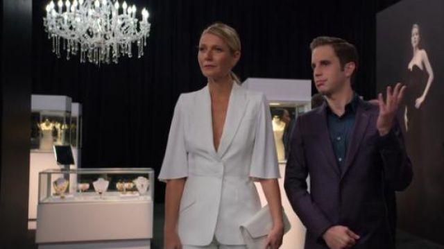 ALexander McQueen White Cape-effect crepe blazer worn by Georgina Hobart (Gwyneth Paltrow) in The Politician Season 1 Episode 7
