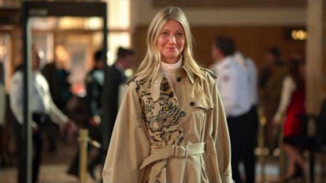 Valentino Tiger print trench coat worn by Georgina Hobart (Gwyneth Paltrow) in The Politician Season 1 Episode 7