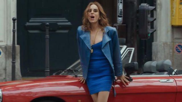 Blouson en cuir bleu de Hélène (Audrey Dana) dans La Vérité si je mens ! Les débuts