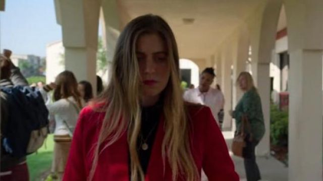 Sandro Red Billy Double-Breasted Swiss Dot-Effect Blazer worn by McAfee Westbrook (Laura Dreyfuss) in The Politician Season 1 Episode 7