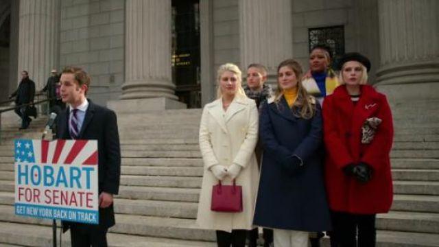 Zara Red Shearling Coat worn by Astrid Sloan (Lucy Boynton) in The Politician Season 1 Episode 8