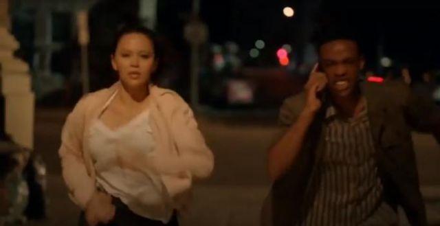 Mackage Pink Vimka Bomber jacket worn by Lucy Chen (Melissa O'Neil) in The Rookie Season 2 Episode 2