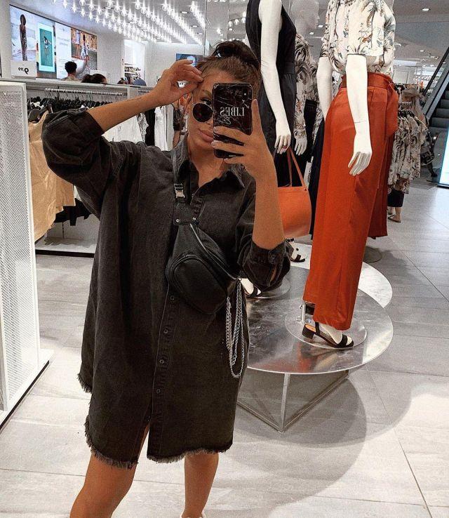 Black oversized denim shirt dress worn by ES on the Instagram ...