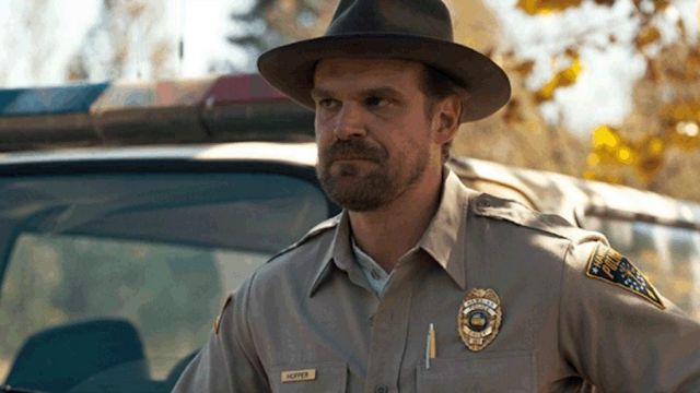 The badge of police Jim Hopper (David Harbour) in Stranger Things