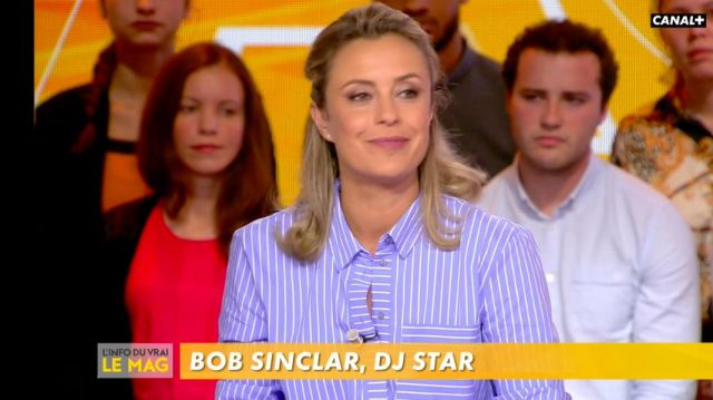 The striped shirt contrasting cuffs of Isabelle Moreau in The Info of the true 15.10.2019