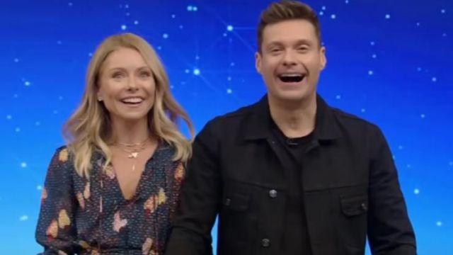 Ferme de Rio jungle de cajou mini robe portée par Kelly Ripa sur le LIVE avec Kelly et Ryan 14 octobre 2019