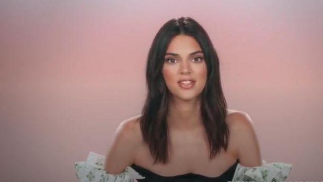 Paris georgia Ruffle Printed Bodice crop top worn by Kendall Jenner in Keeping Up with the Kardashians Season 17 Episode 5