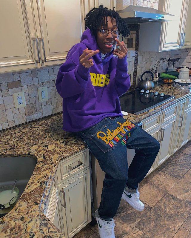 Vlone Friends Purple Hoodie worn by Lil Tecca on his Instagram account @liltecca