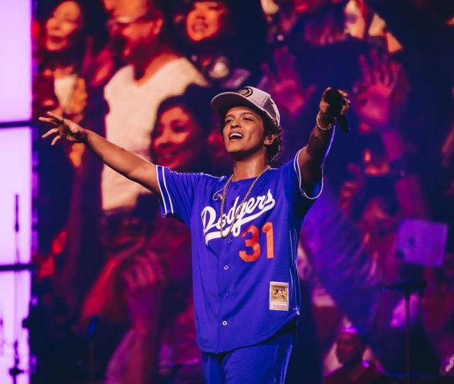 Mitchell & Ness Dodgers Jersey worn by Bruno Mars on his Instagram account @brunomars