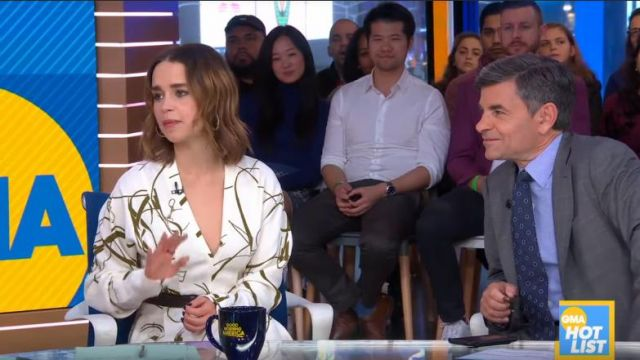 Victoria Beckham White Printed Crepe Flared Midi Dress worn by Emilia Clarke on Good Morning America October 30, 2019
