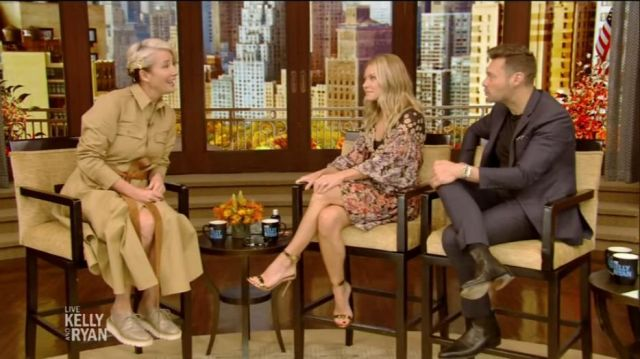 Stella Mccartney Beige Cotton Belted Maxi Shirtdress worn by Emma Thompson on LIVE with Kelly and Ryan October 31, 2019