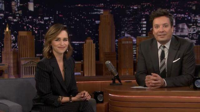 Dolce & Gabbana Black Pinstripe Blazer worn by Emilia Clarke On The Tonight Show Starring Jimmy Fallon October 31, 2019