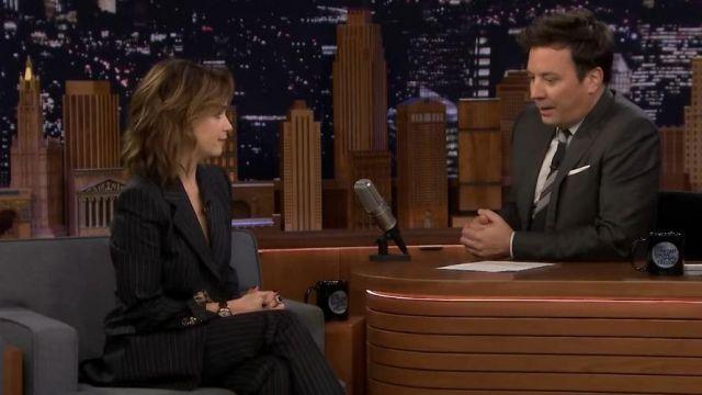 Dolce & Gabbana Black Pinstripe Pants worn by Emilia Clarke on The Tonight Show Starring Jimmy Fallon October 31, 2019
