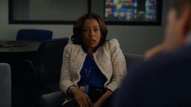Rebecca taylor Rainbow Tweed Jacket worn by Mia Jordan (Karen Pittman) in The Morning Show Season 01 Episode 03
